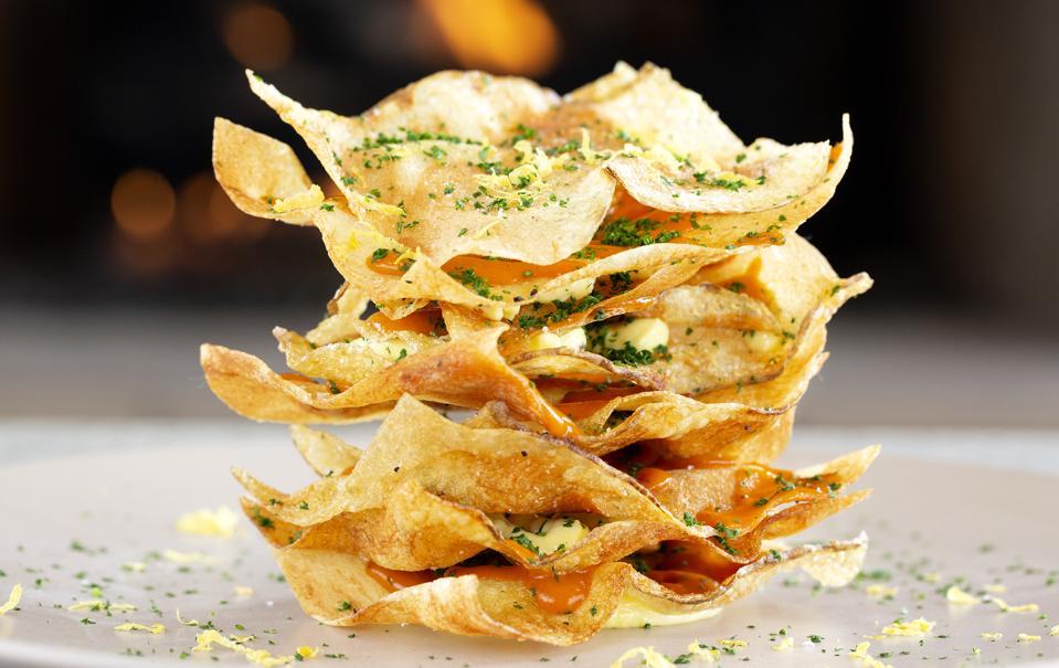 Patatas Bravas Mille Feuille at Whitestone Restaurant in Dana Point, California.