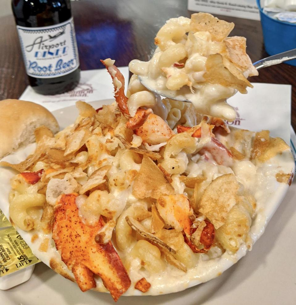 Lobster Mac and Cheese at Town Docks Restaurant in Meredith, New Hampshire