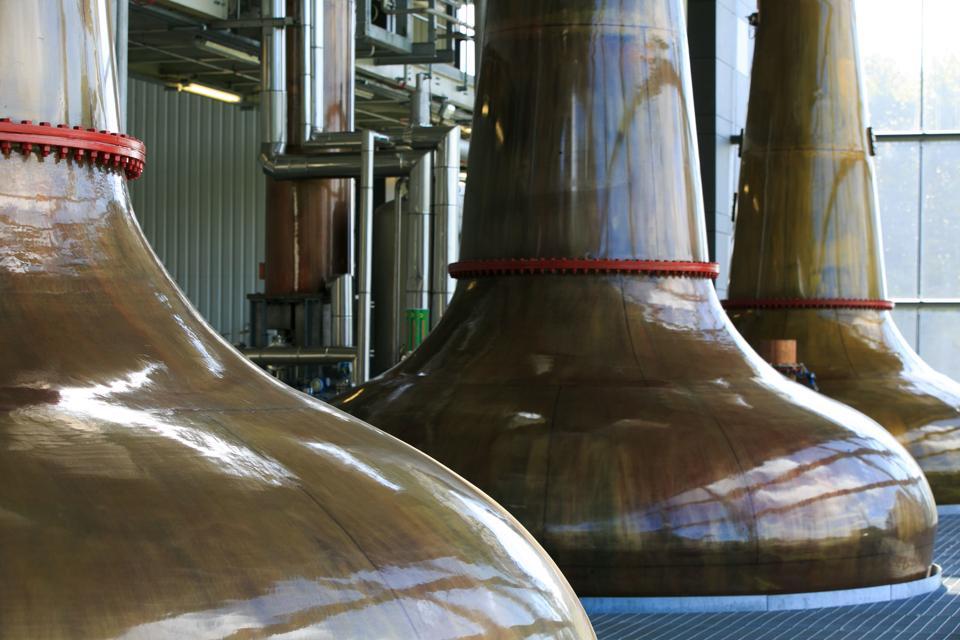 Pot stills at RedBreast Whiskey's distillery