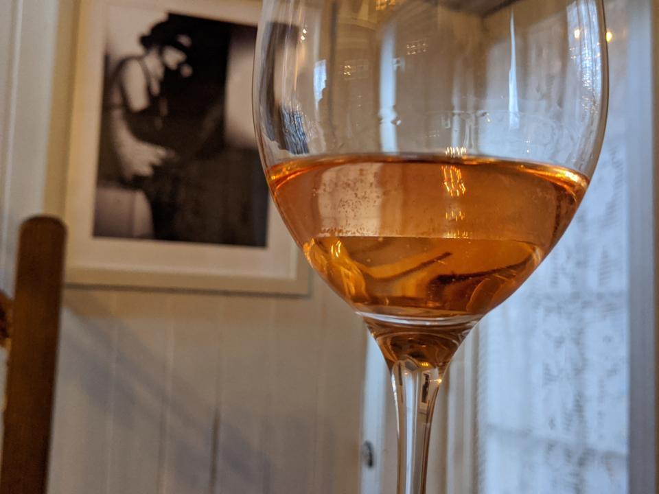 A Glass of Mirabella Rosé Franciacorta