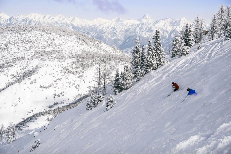 Skiers in Taynton Bowl in Panorama's new Monster terrain.
