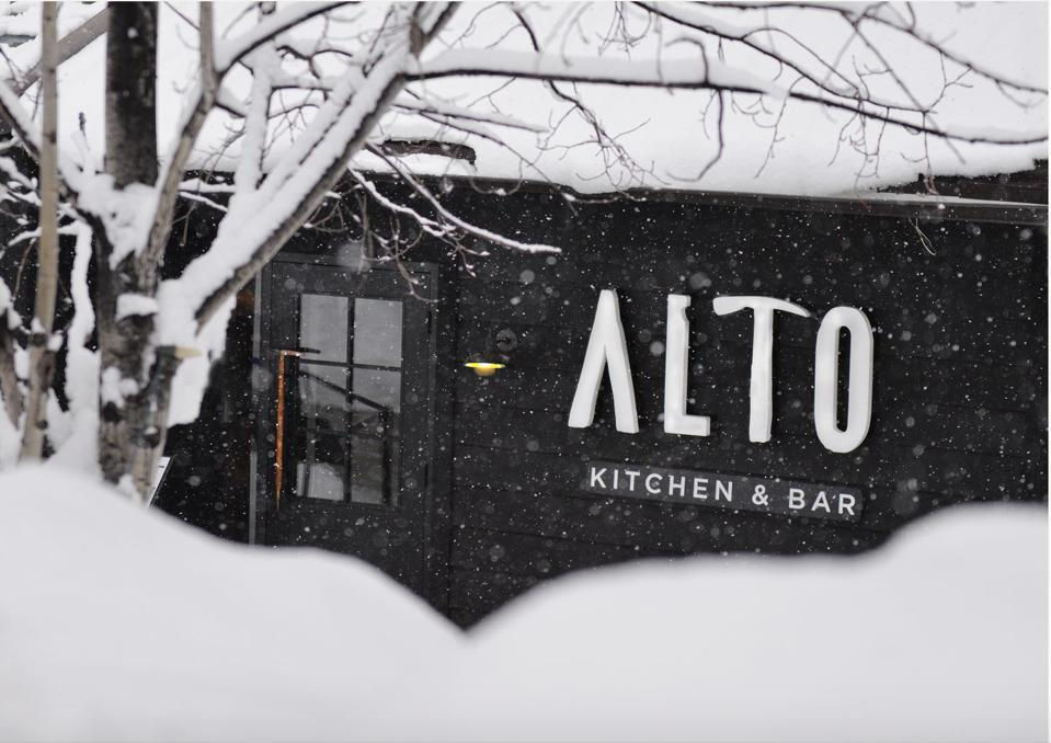 The new Alto Kitchen & Bar at the base of the Panorama village draws on the area's mountaineering heritage.