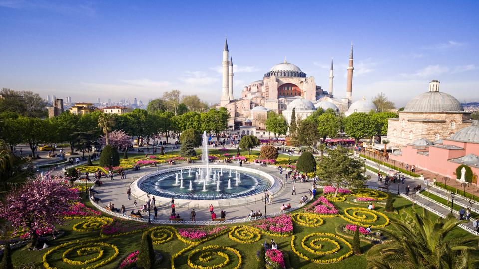 Aerial view of Hagia Sophia in Istanbul, Turkey