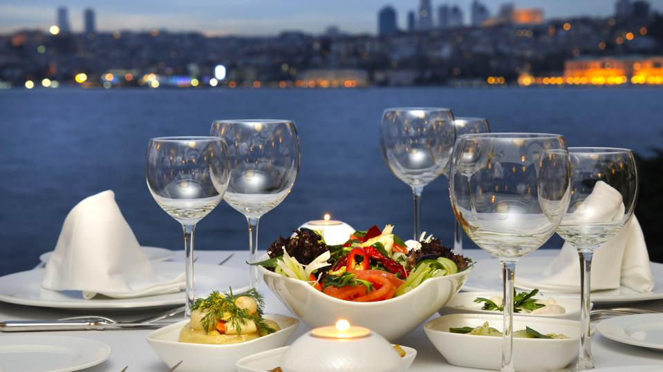 Dinner At The Bosphorus, Istanbul - Turkey (Night Shot)