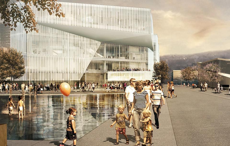 Architect drawing of the new Oslo Deichman Library.