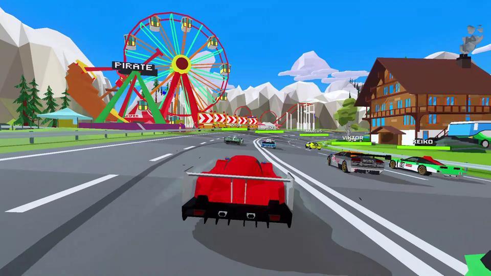 A screenshot of a race in Hotshot Racing.