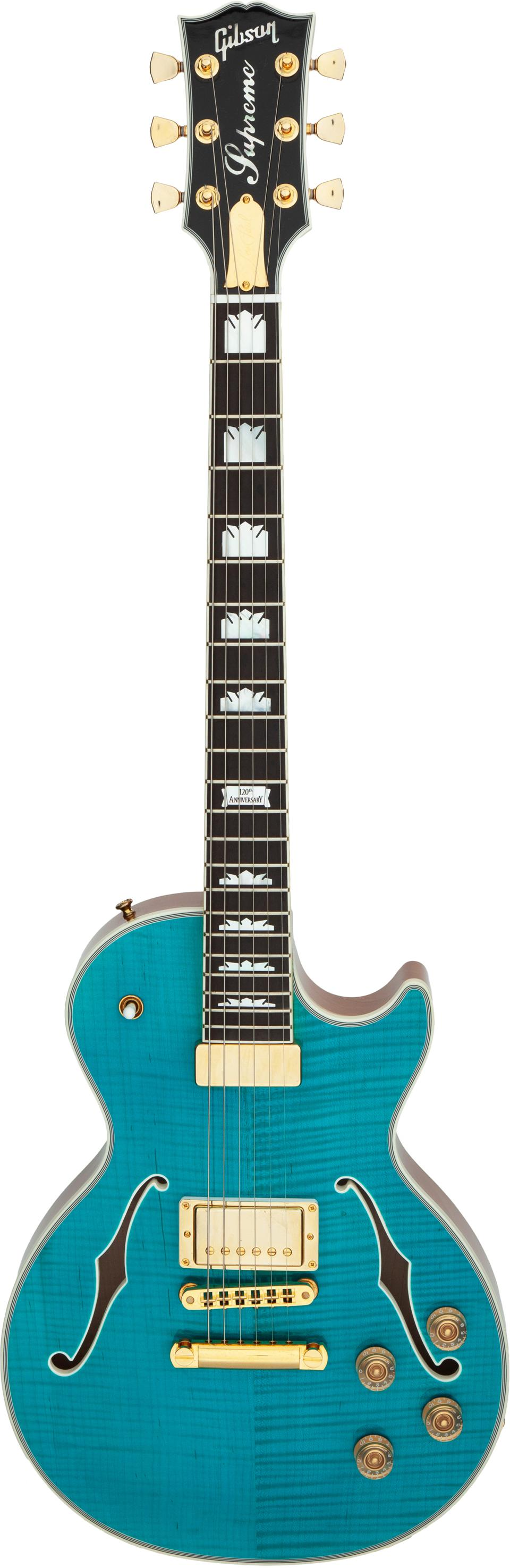The 2014 Gibson Les Paul Supreme turquoise semi-hollow body electric guitar.