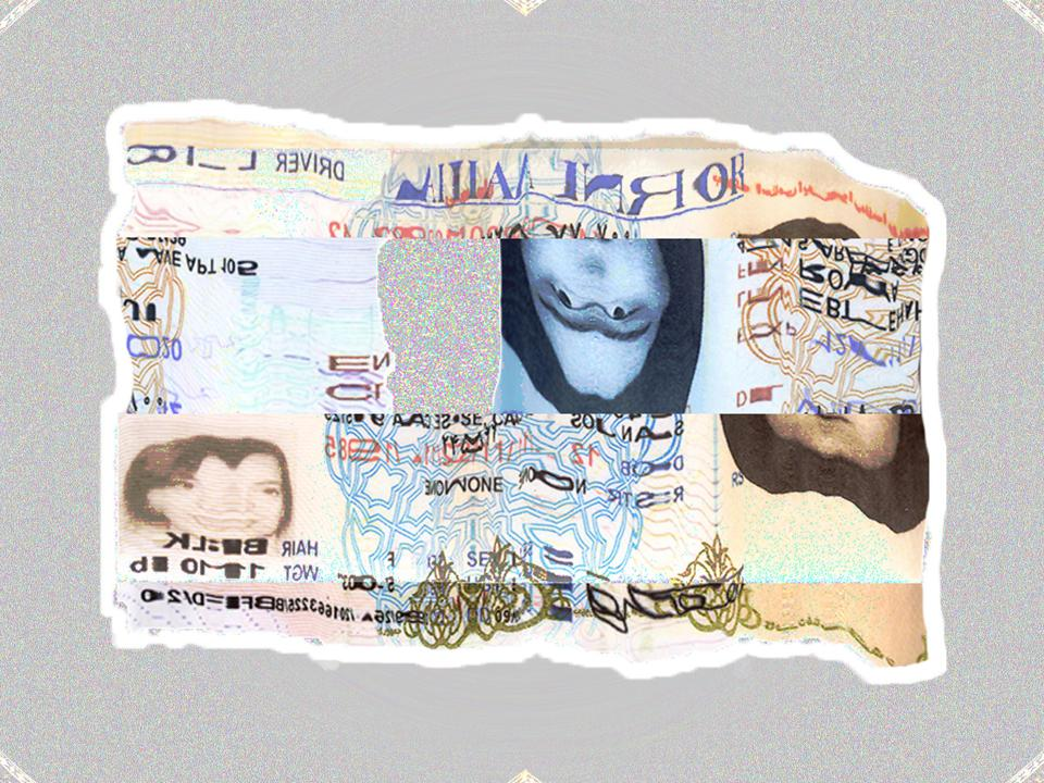 A piece of art showing a warped and cut apart identity card
