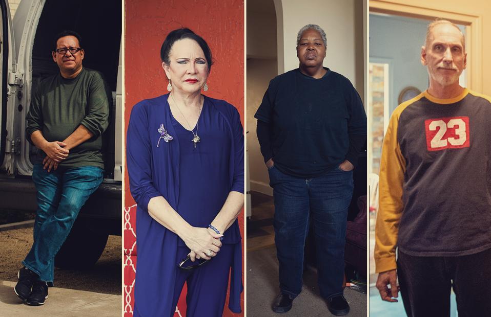 Portraits of Joseph Gaxiola, Stephanie Stuart, Sharon Bosley and Robert Toth — four long-term survivors of HIV
