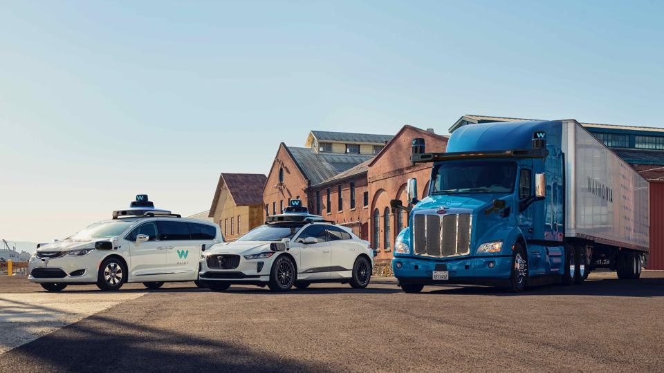 Waymo's current lineup of self-driving vehicles.