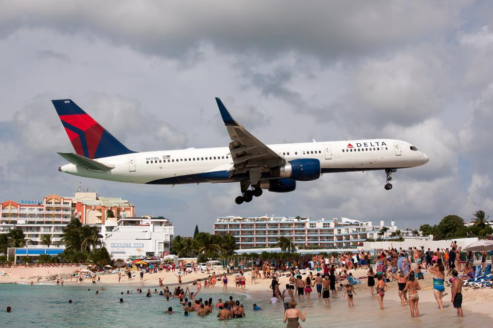 A Delta Airlines Boeing 757 seen landing at airport Princess...