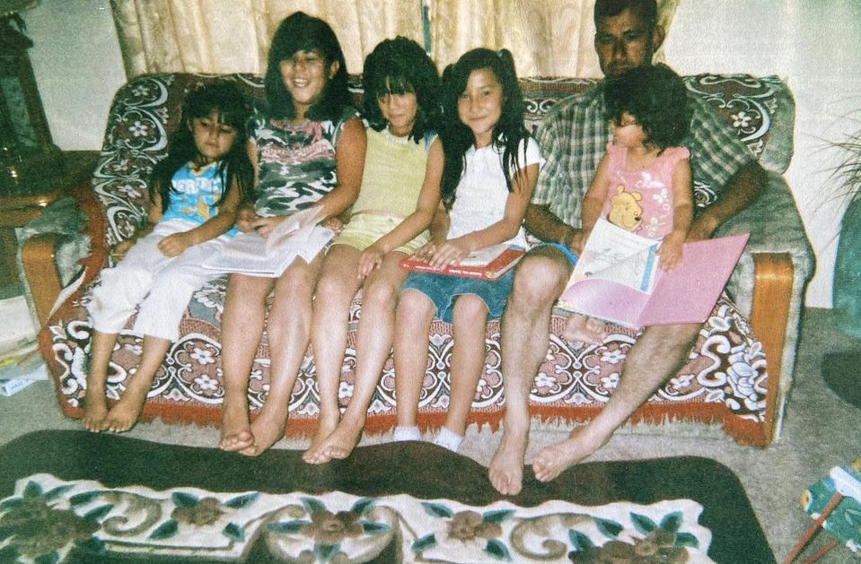 Jessica as a child (3rd from the left) with her family in Merrill, Oregon.