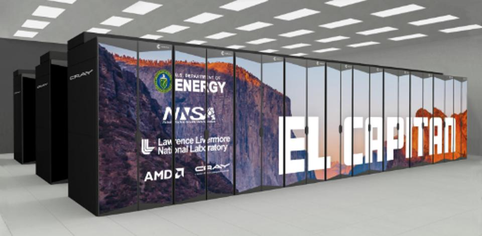Figure 1: The El Capitan Supercomputer at LLNL will exceed 2 Exaflops of performance and is projected to become the fastest computer in the world in 2023.