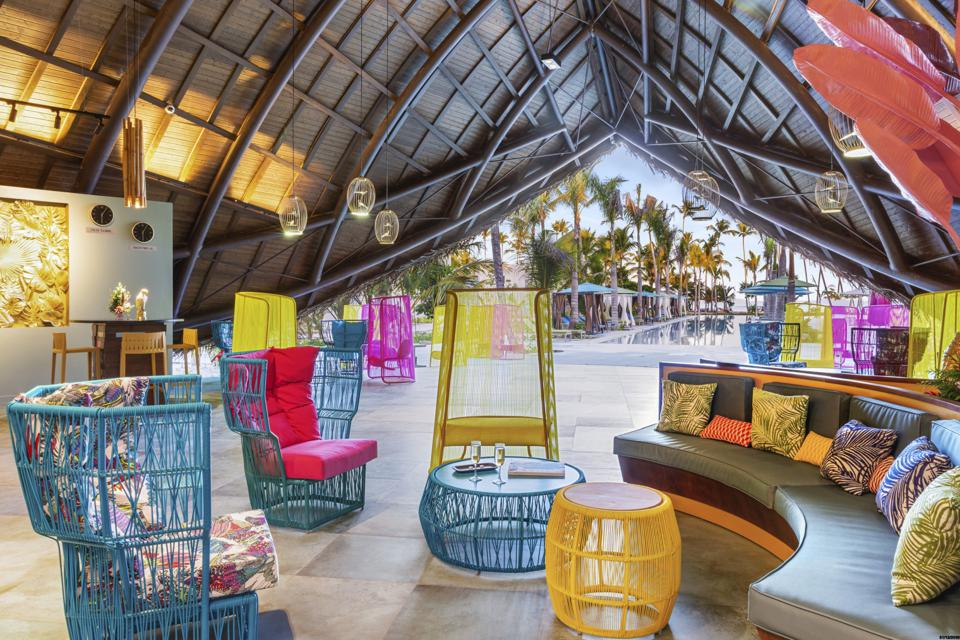 Colorful hotel lobby.