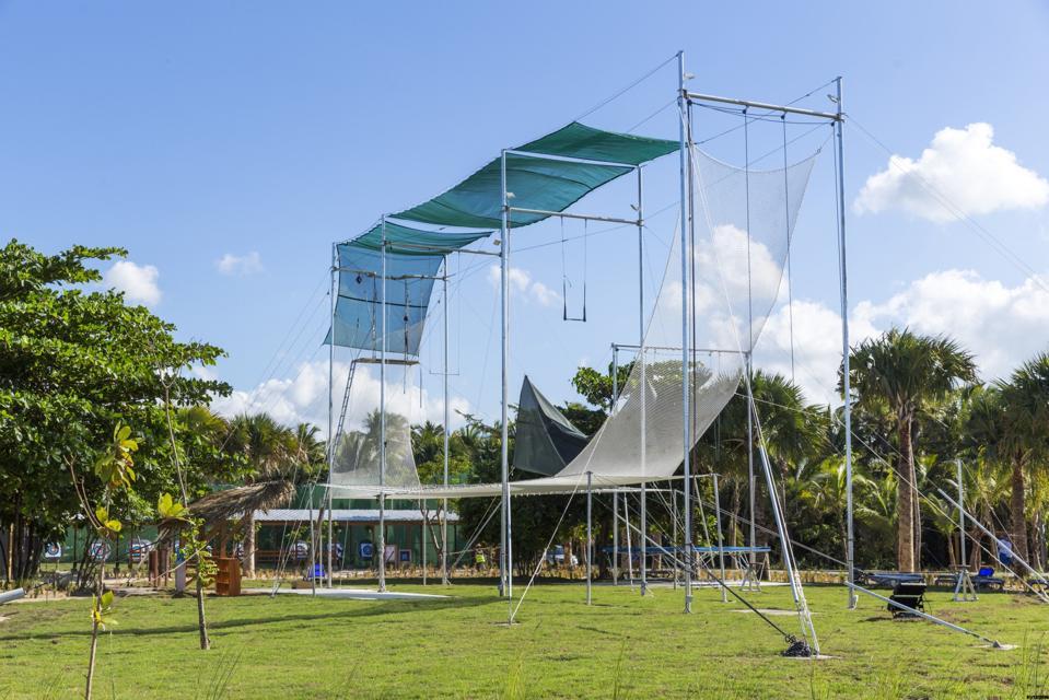 Trapeze set up at resort.