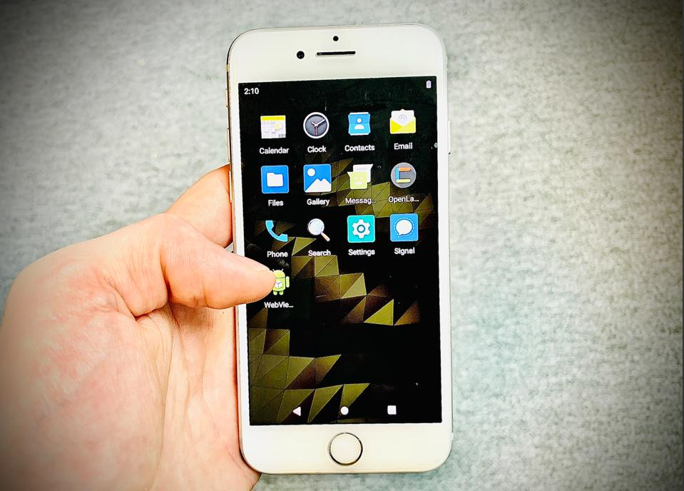 Google Android on an Apple iPhone after jailbreak and Corellium hack.