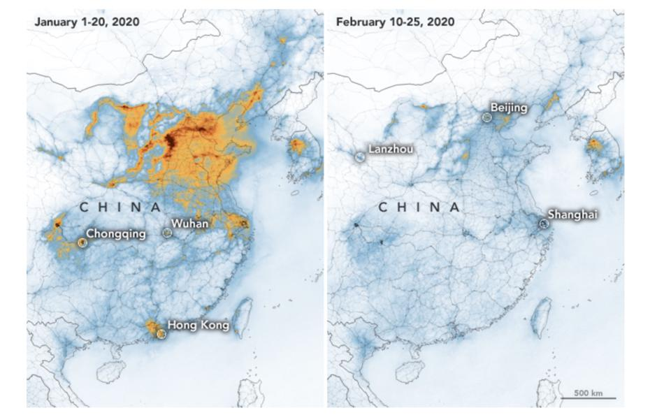 Pollution before vs after Coronavirus quarantine.
