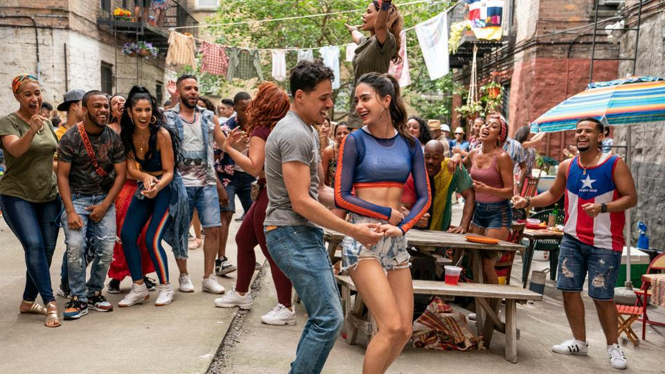 "ANTHONY RAMOS as Usnavi and MELISSA BARRERA as Vanessa in Warner Bros. Pictures' ""IN THE HEIGHTS,"" MACALL POLAY, COURTESY OF WARNER BROS."