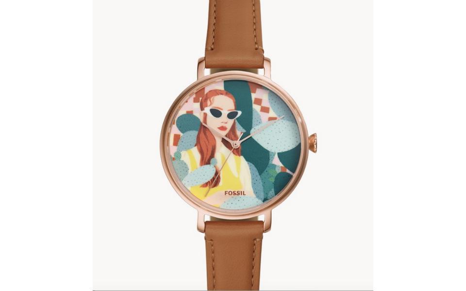 The Bijou Karman x Fossil Collection Kalya Leather Watch