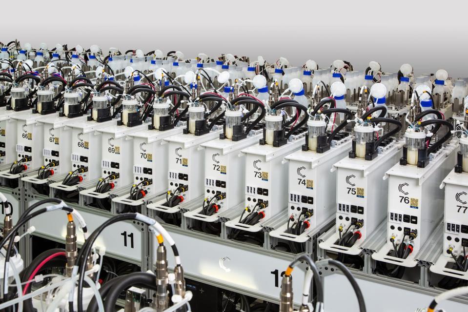 A row of connected high-tech bioreactors