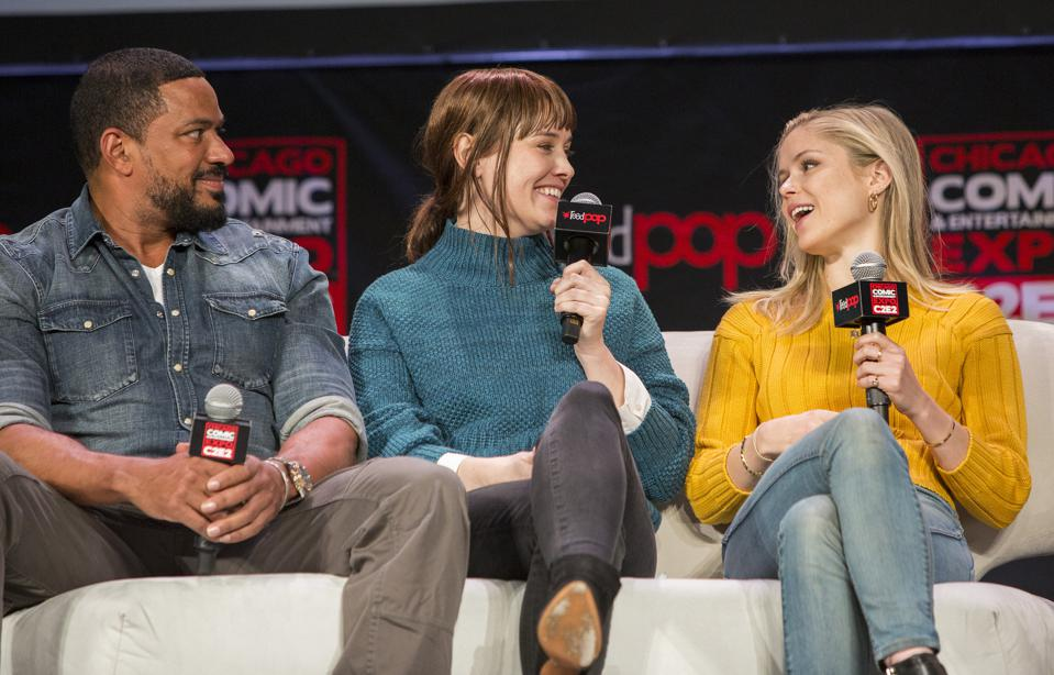 (Left to right) Laz Alonso, Dominique McElligott and Erin Moriarty of The Boys on stage at C2E2. Sunday, March 1, 2020 at McCormick Place in Chicago, IL (Photo by Barry Brecheisen)
