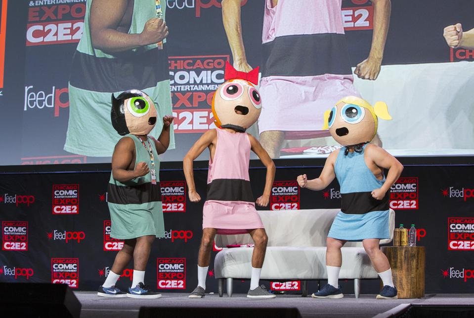 Fans in cosplay as The Powerpuff Girls on stage at C2E2. Saturday, February 29, 2020 at McCormick Place in Chicago, IL (Photo by Barry Brecheisen)