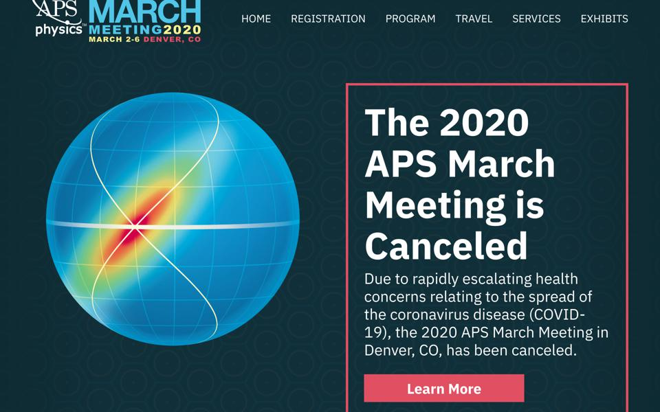 Screenshot of the 2020 March Meeting website with the cancellation announcement.