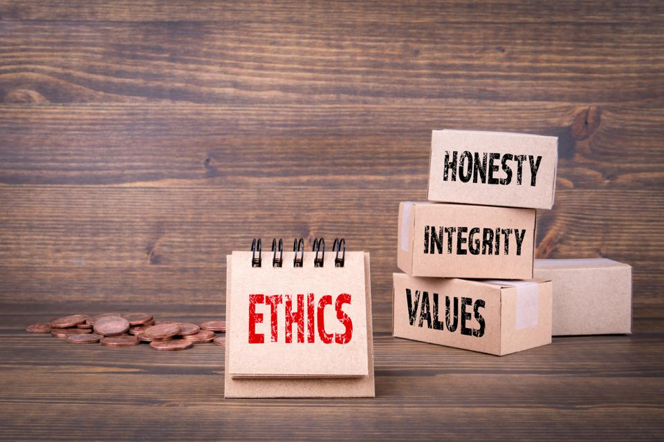 Ethics oncept. Honesty, integrity and values words