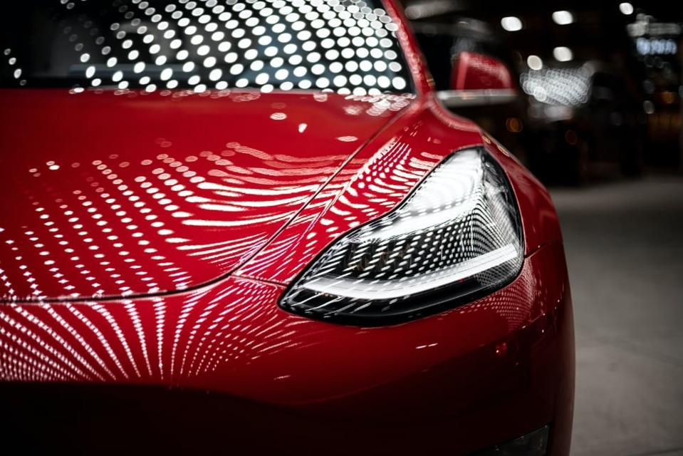 A close-up of a Tesla