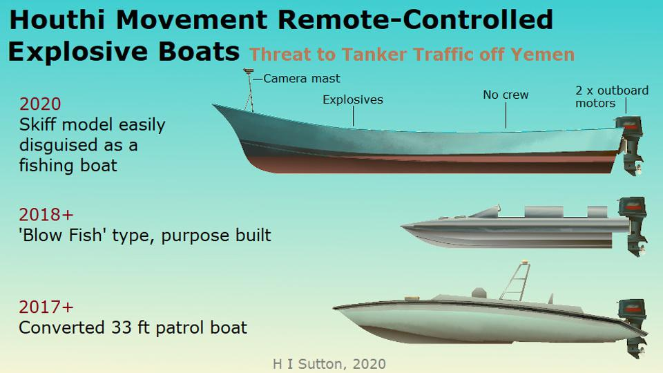 Houthi movement remote-controlled explosive boat types, Yemen