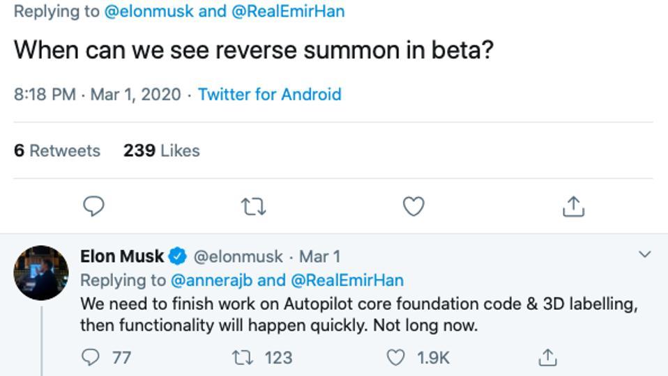 Screen shot of Elon Musk's tweet about reverse smart summon.