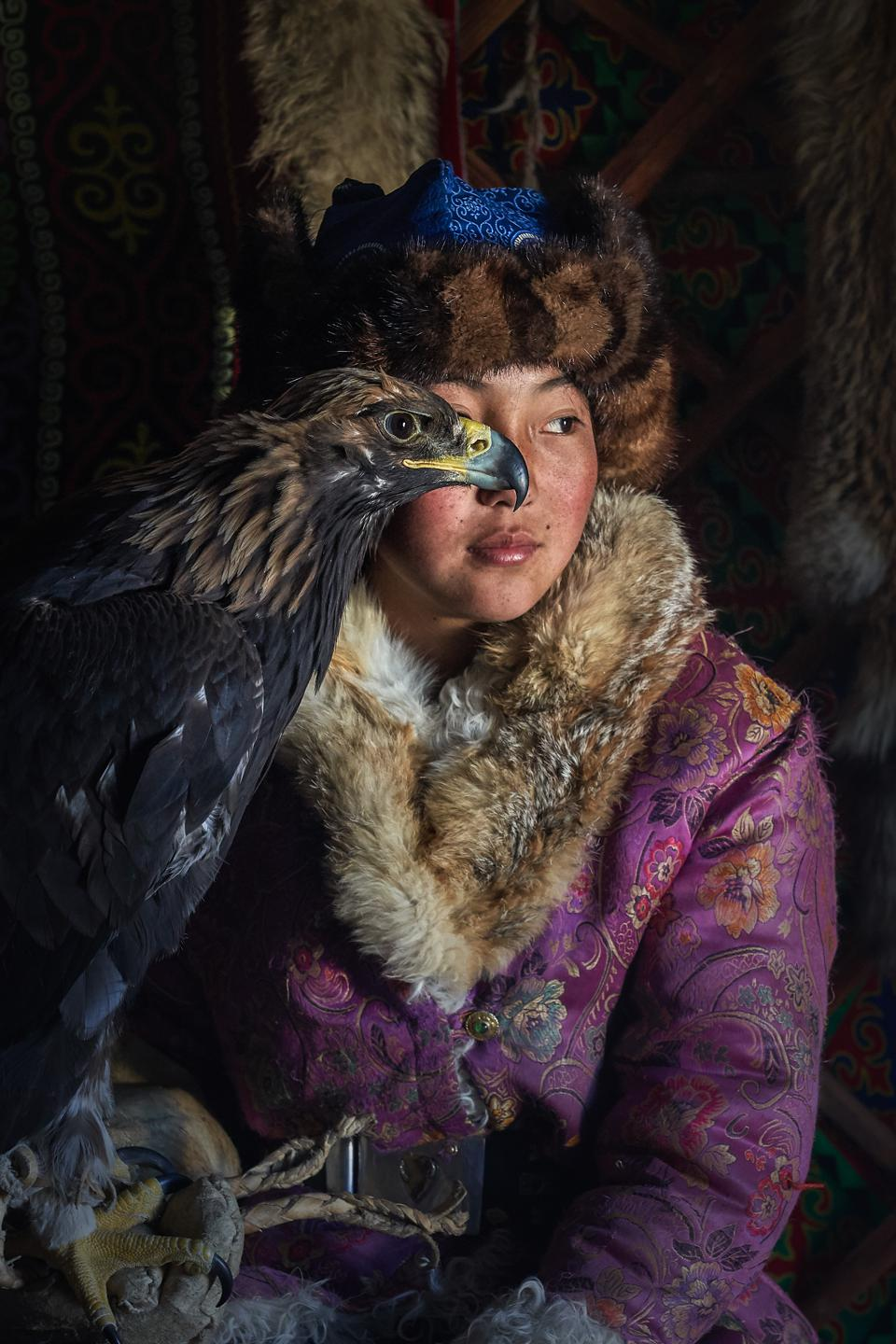 A young eagle hunter in Kazakhstan