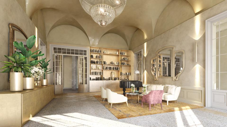 The lobby at Grand Universe Lucca.