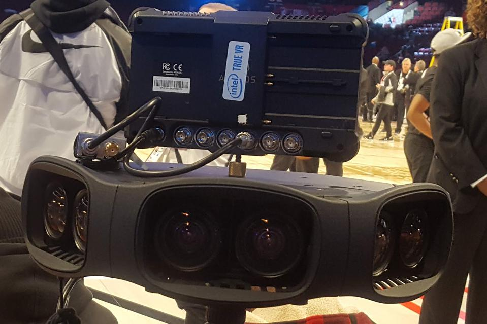 An up-close look at an Intel True View camera pod at the United Center in Chicago.