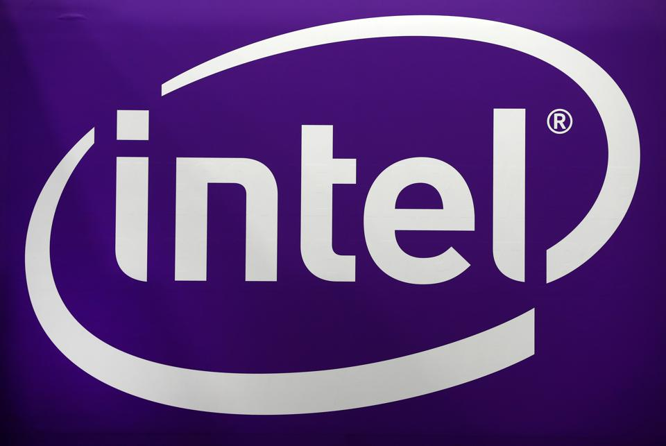 The Intel logo, white against a purple background