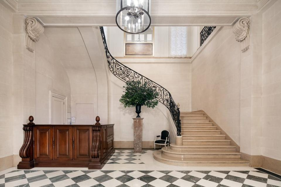 A sweeping staircase