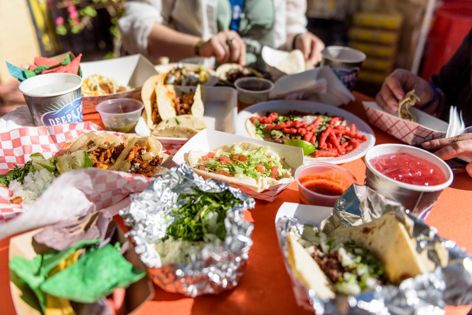 A wide variety of tacos served at the festival