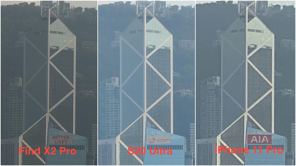 10X zoom shots captured by Oppo's, Samsung's and Apple's phones.