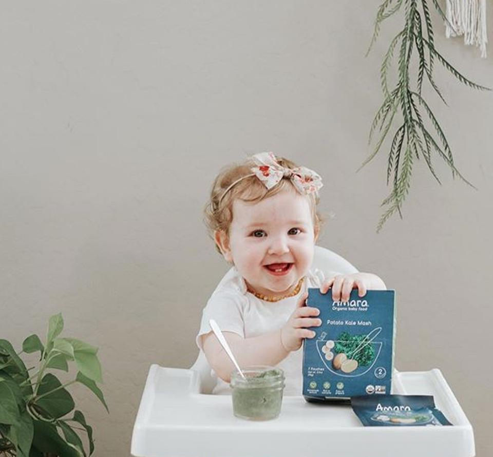 Amara Organic Baby Food can be mixed with breast milk, water or formula.