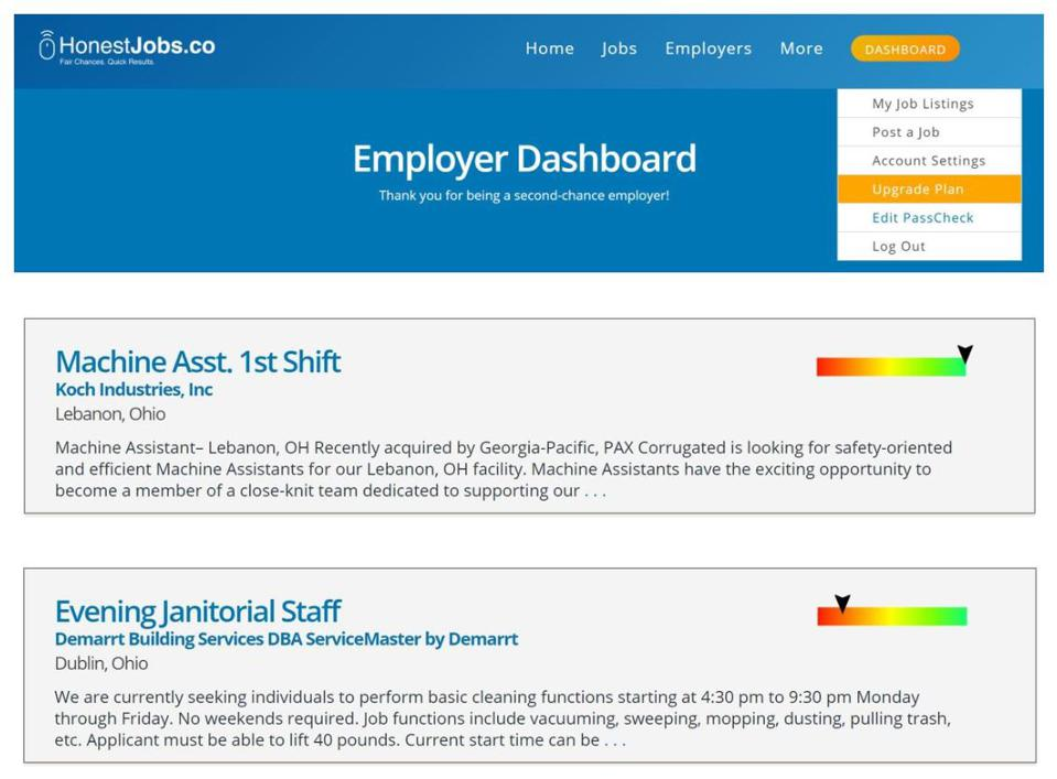 HonestJobs uses uses a sliding scale to show candidates the best positions for hire.