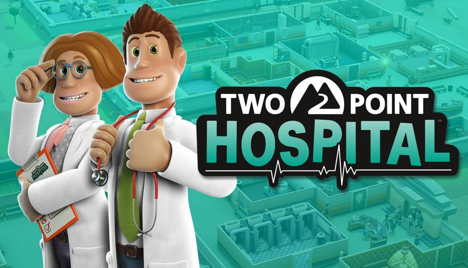 The Two Point Hospital logo and two characters from the game