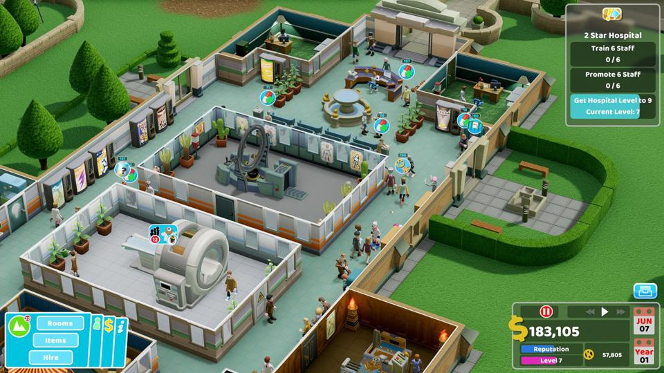 A hospital layout in Two Point Hospital.