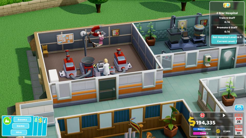 Someone with ″pan-demic″ in Two Point Hospital being cured by a giant magnet.