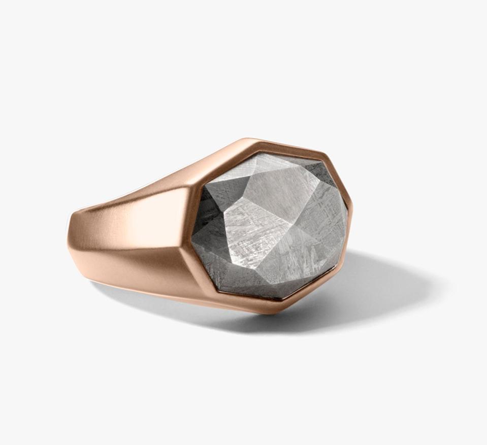 David Yurman meteorite 18-karat rose gold ring