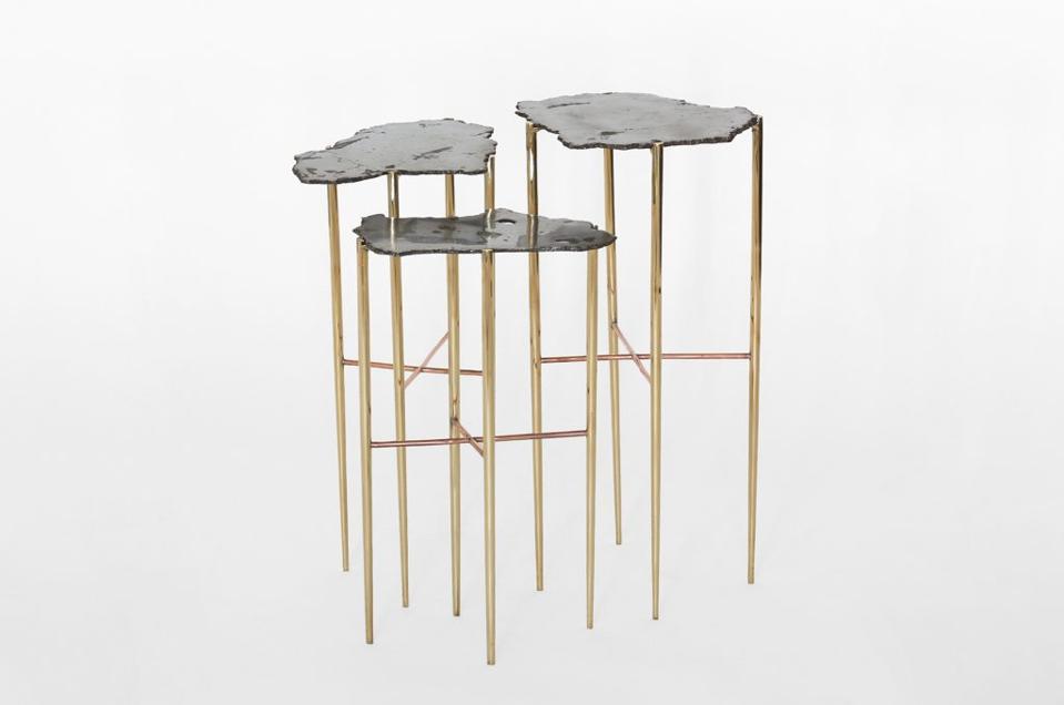 Silvery meteorite tables by Los Angeles-based designer Christopher Kreiling.