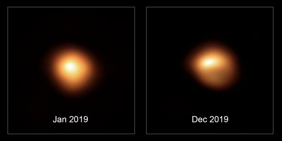 Observations of the star Betelgeuse taken by the ESO's Very Large Telescope in January and December 2019, which show the star's substantial dimming.