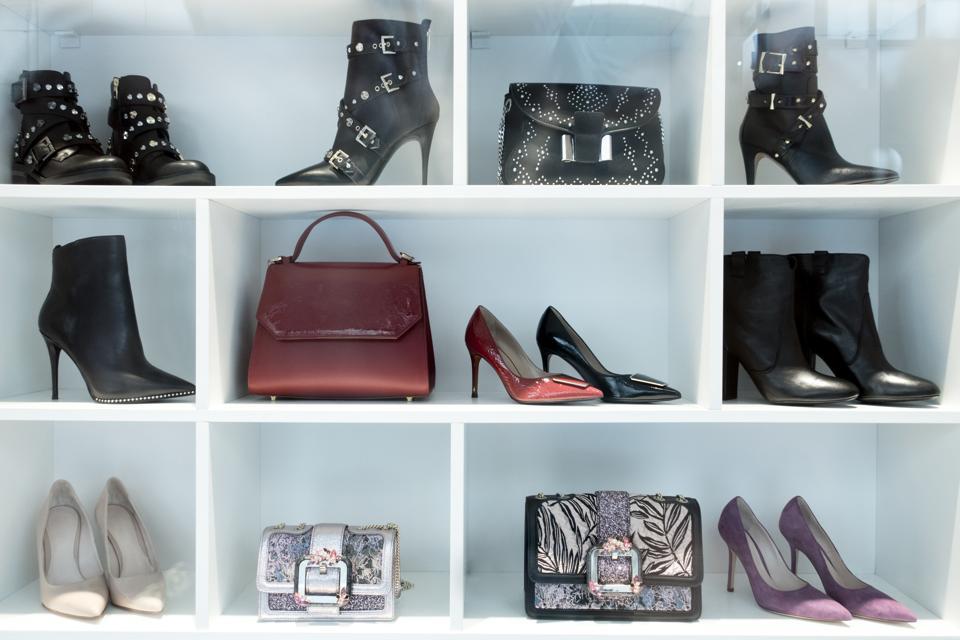 Woman Elegant High Heel Shoes in Store Display Window