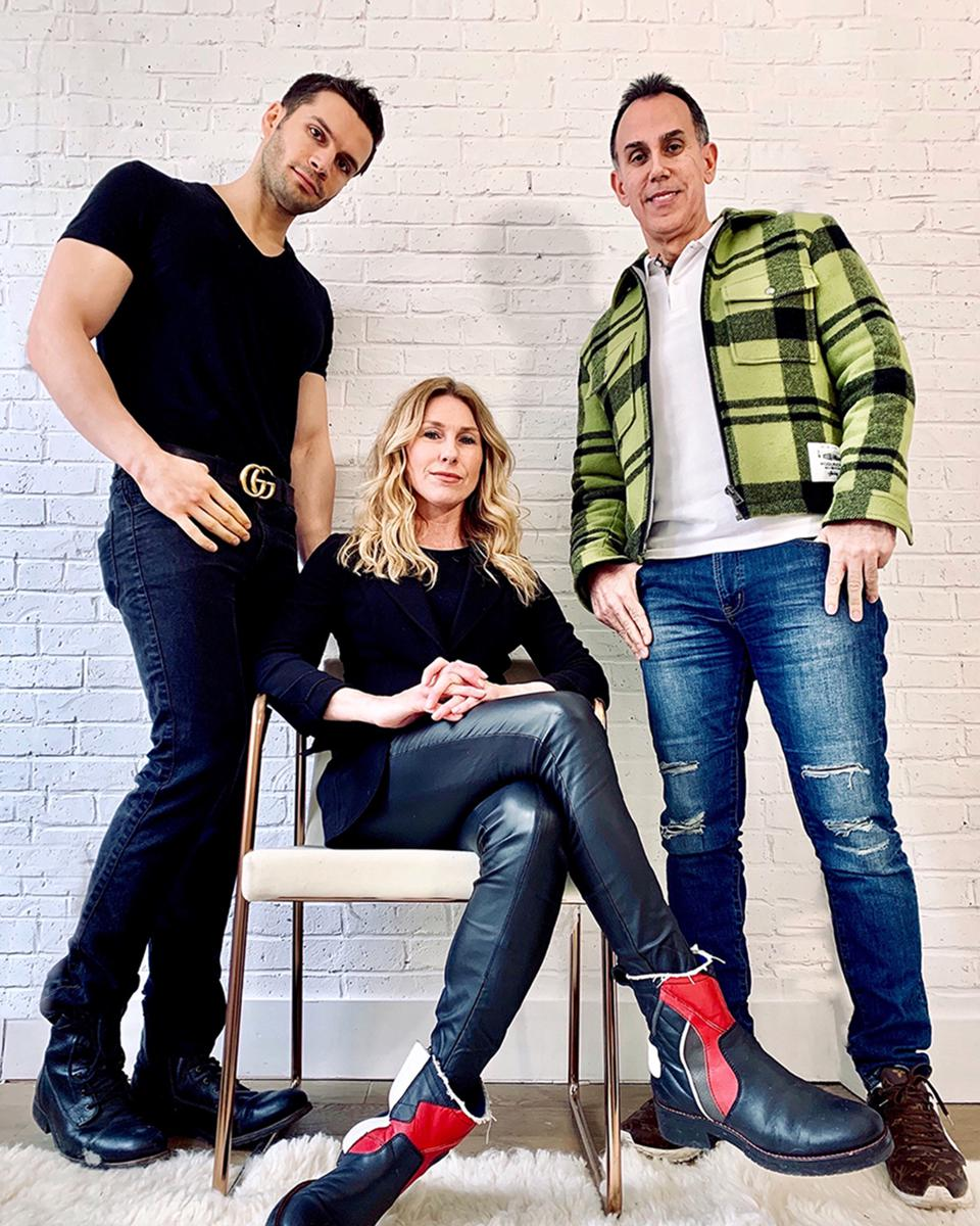 JA Studio'sMen's Cuts: From L-R: Model/Influencer: Rudy Bundini; former boxing champ and IMTA's Male model of the year. JA Studio Founder: Jennifer Albert and Armand Peri, entrepreneur and former world class bodybuilding champion and top fitness social media influencers. @jastudiosnyc