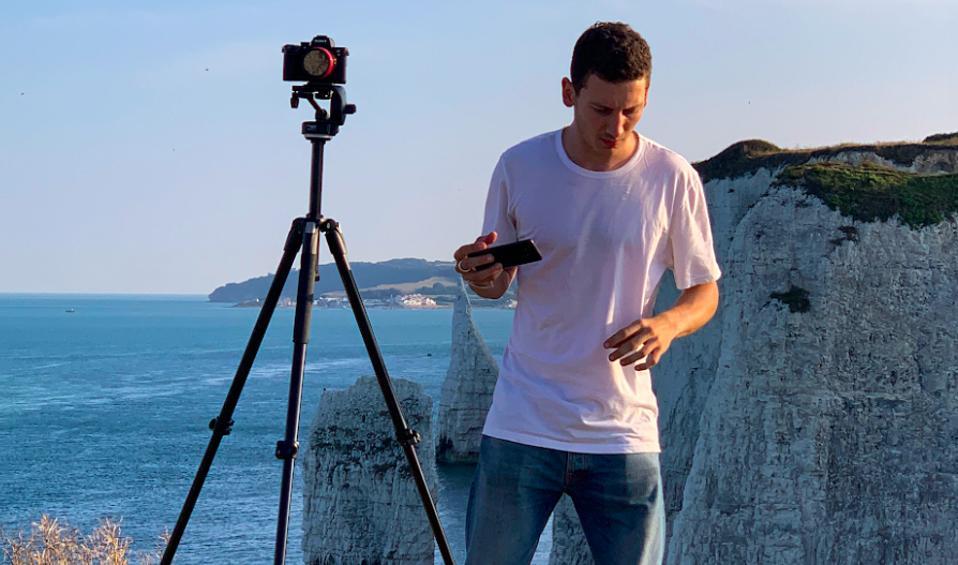 David Urban filming on the Jurassic Coast