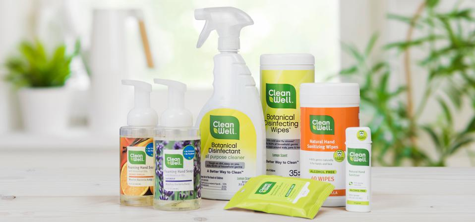 A display of seven botanical disinfectant products made by CleanWell, including hand sanitizers, wipes and sprays.